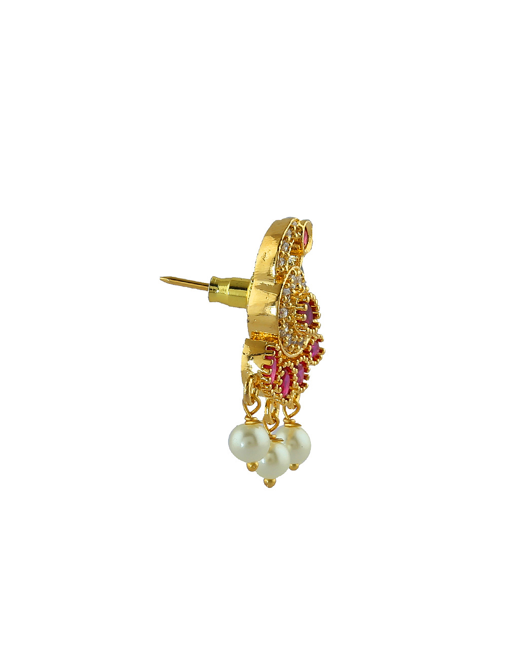 Peacock Design Gold Finish Studded With American Diamond Fancy Moti Necklace