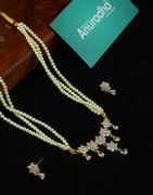 Gold Finish Floral Design Stunning American Diamond Moti Necklace