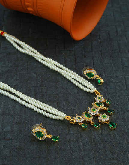 Green Colour Gold Finish Floral Design Fancy Moti Maharashtrian Necklace