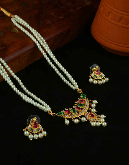 Pink-Green Colour Gold Finish Moti Necklace For Weddings Fancy