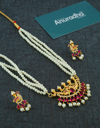 Marathi Moti Necklace Studded With Diamond Moti Jewellery
