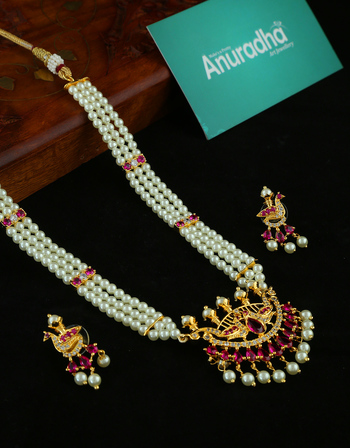 Gold Finish Pink Colour Stylish Moti Necklace Maharashtrian Jewellery