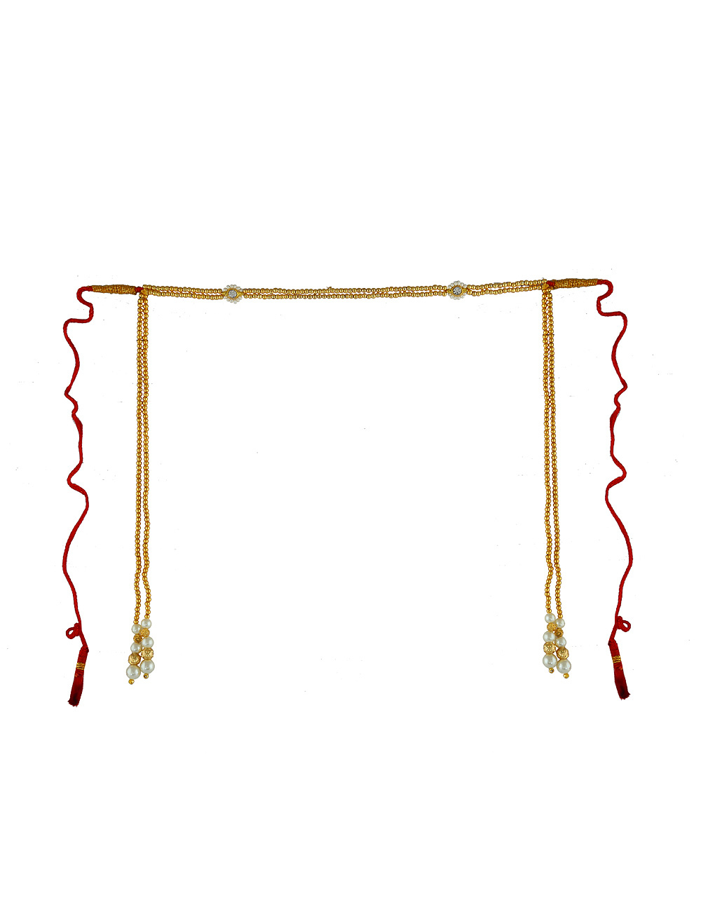 Fancy Gold Finish Styled With Hanging Pearls Beads Bashing