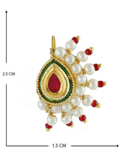 Red Colour Gold Finish Moti Rajasthani Besar Nath