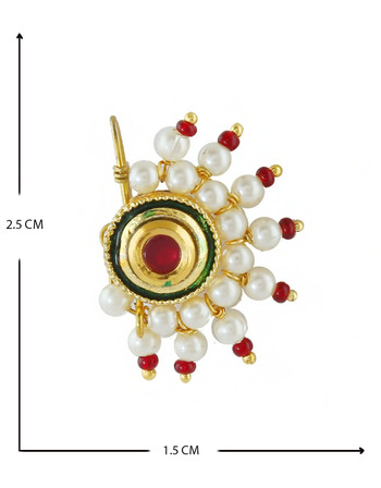 Red Colour Gold Finish Kundan Nath For Girls