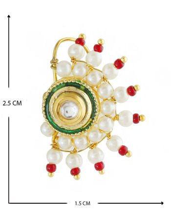 Fancy Red Colour Gold Finish Pearls Styled Moti Besar Nath