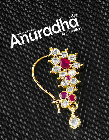 Pink Colour Gold Finish Studded With American Diamond Nath For Girls