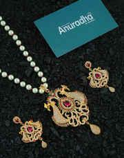 Pink Colour Gold Finish American Diamond Maharashtrian Jewellery For Women Fancy