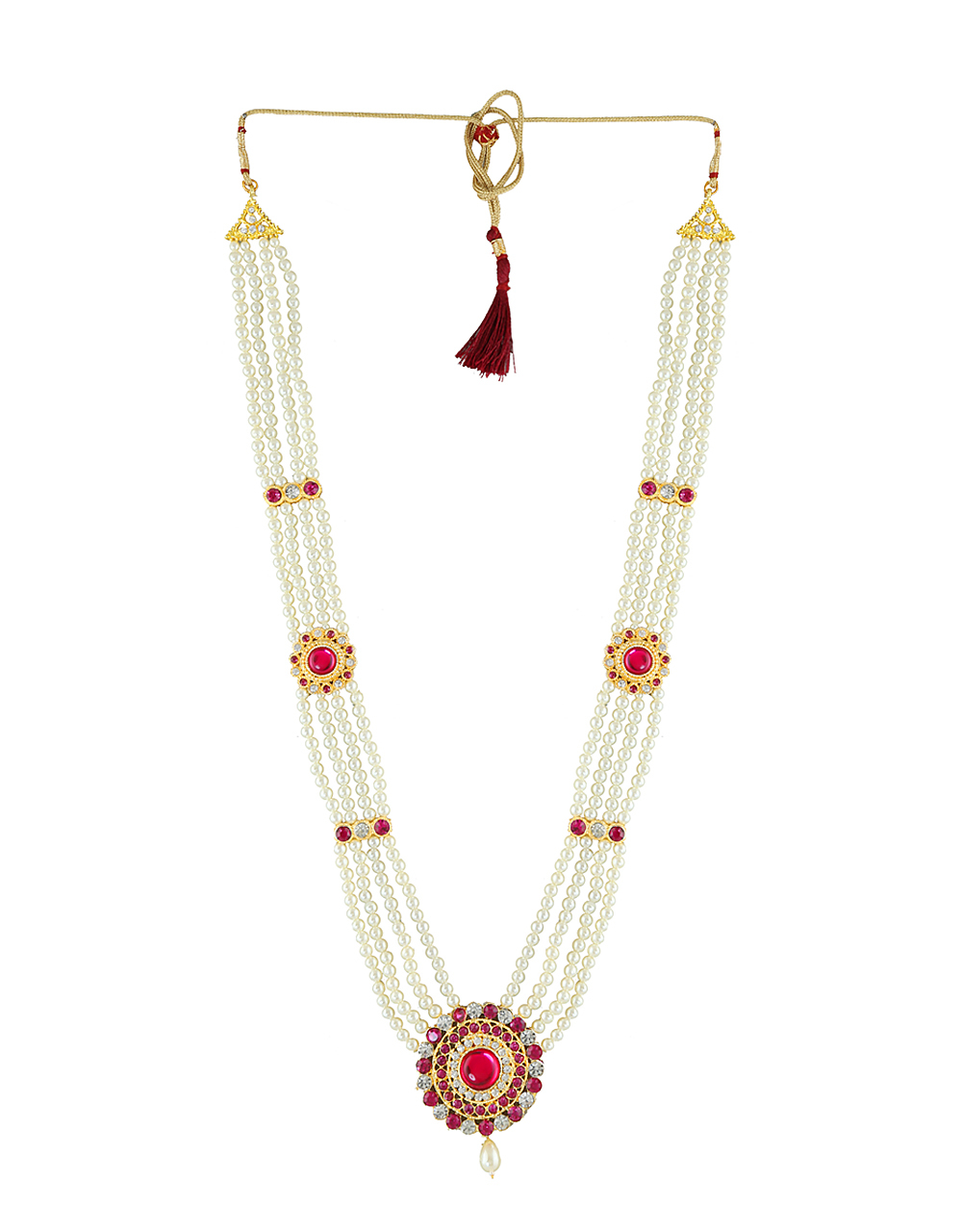 Pink Colour Fancy Gold Finish South Indian Moti Necklace Jewellery