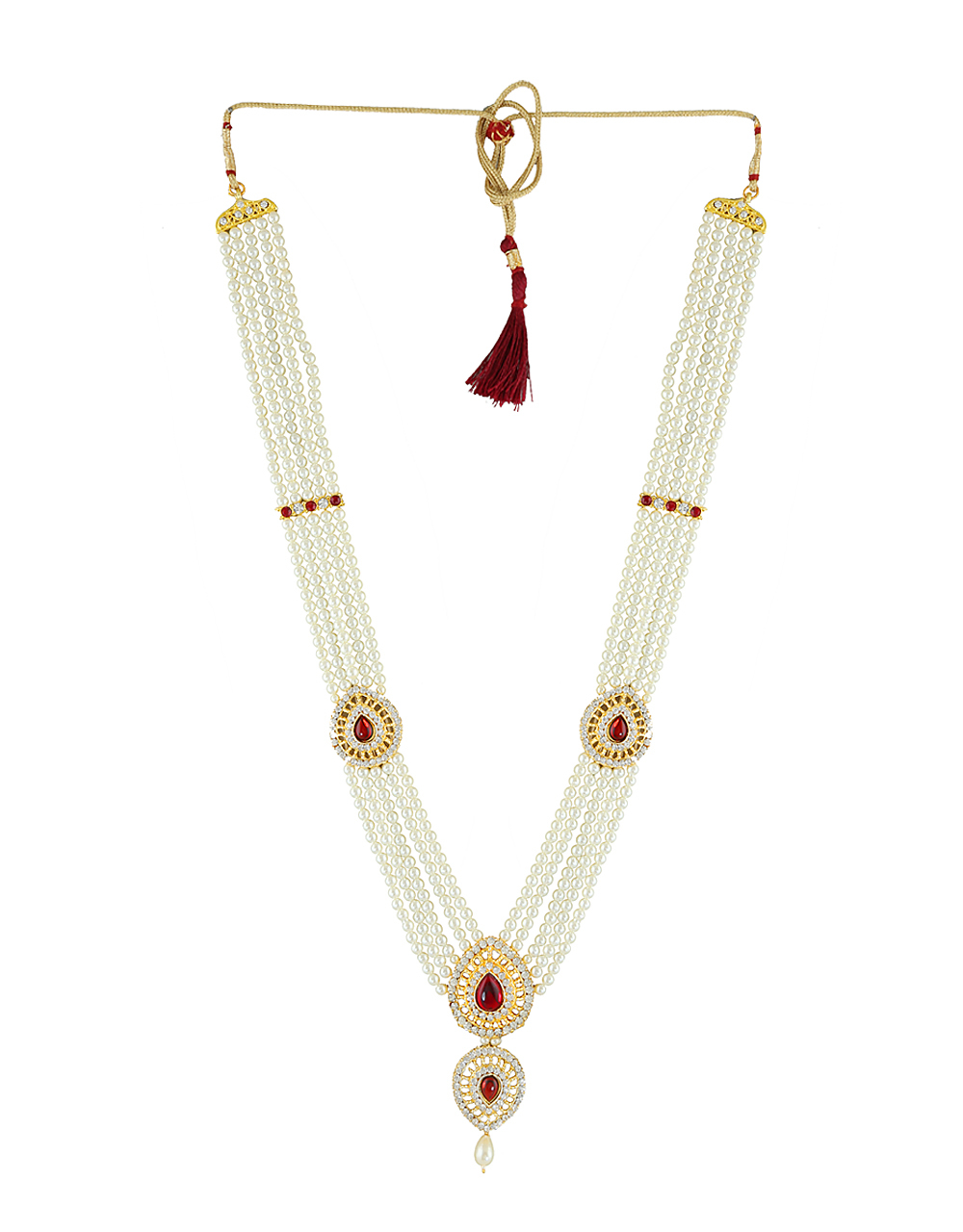 Red Colour Gold Finish Stunning Moti Necklace For Ganpati Jewellery