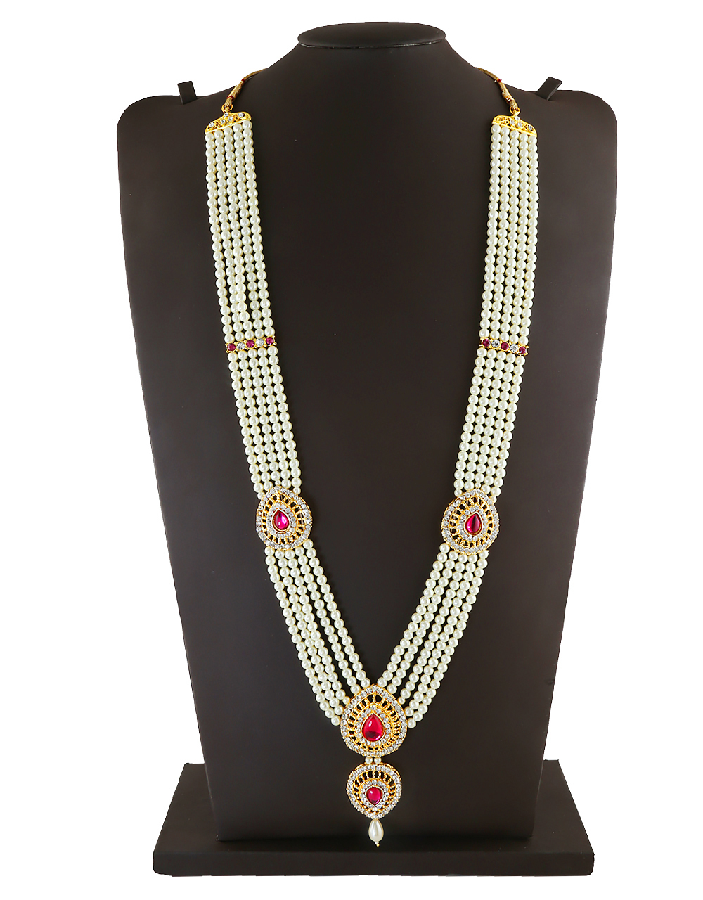 Pink Colour Gold Finish Studded With Stones Fancy Mahalaxmi Jewellery