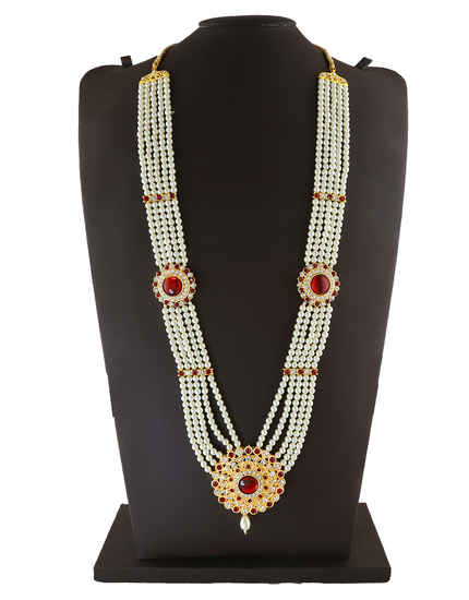 Designer Red Colour Gold Finish Moti Necklace Jewellery For Gauri Ganpati Festival
