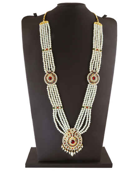 Multi Colour Gold Finish Jewellery Styled With Pearls Beads Moti Jewellery