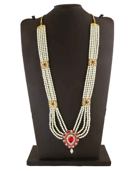 Pink Colour Gold Finish Styled With Pearls Beads Mahalaxmi Moti Jewellery