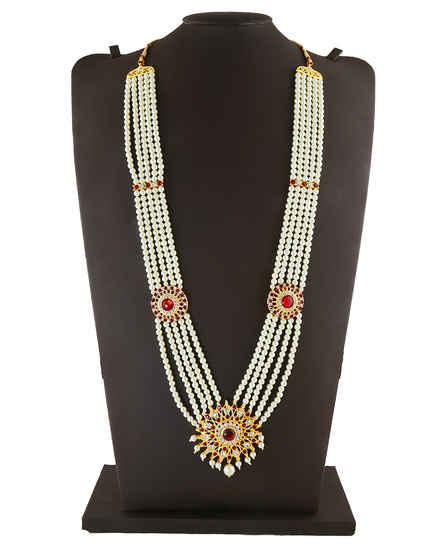 Floral Design Red Colour Gold Finish Gauri Ganpati Sajavat Jewellery
