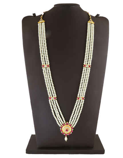 Pink Colour Gold Finish Adorable Moti Necklace