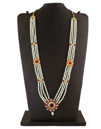Red Colour Gold Finish Studded With Stones Ganpati Jewellery Moti Necklace