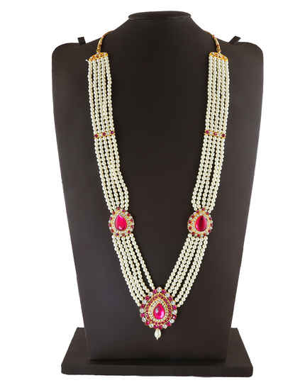 Pink Colour Gold Finish Designer Pearls Jewellery For Ganapati Festival