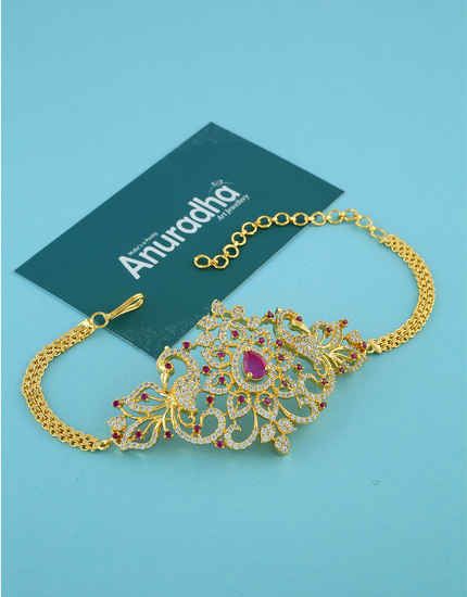 Beautiful Gold Finish Pink Colour Americn Diamond Fancy Bajuband