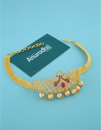 Peacock Design Gold Finish Pink Colour Diamond Bajuband For Girls