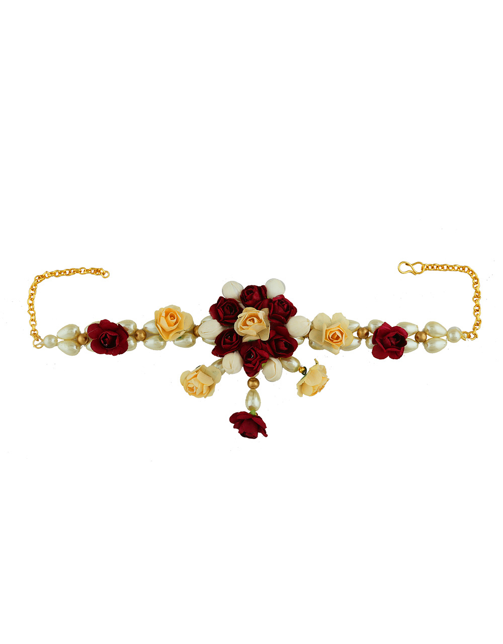 Maroon Colour Artificial Flower Jewellery For Baby-Shower Floral Necklace