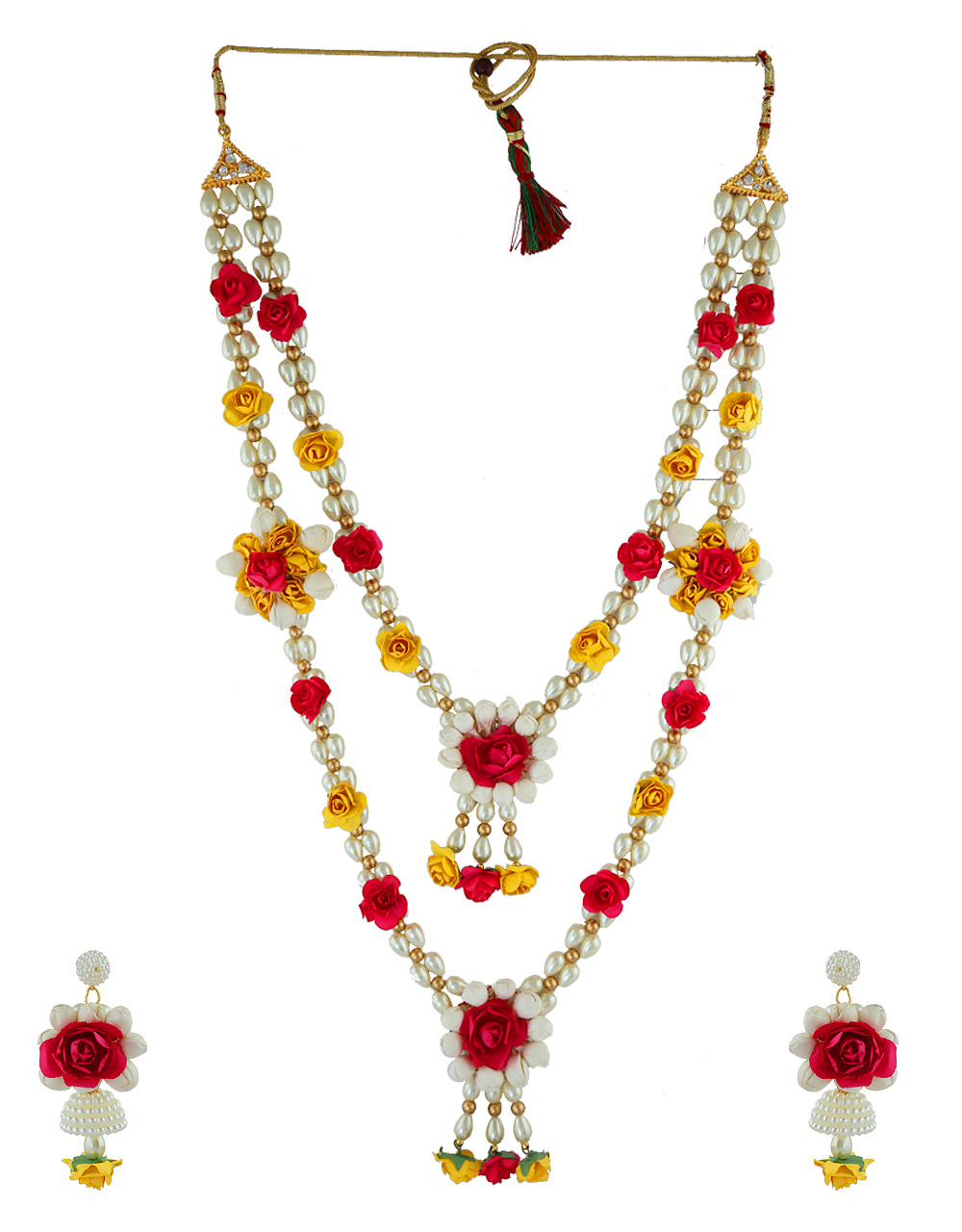 Pink Colour Artificial Mehandi Flower Jewellery For Wedding