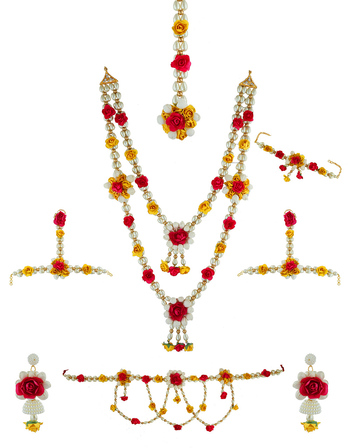 Red Colour Artificial Mehandi Flower Jewellery For Wedding