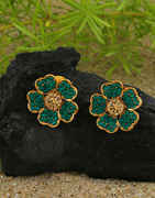 Green Colour Gold Finish Floral Design Studded With Stones Tops