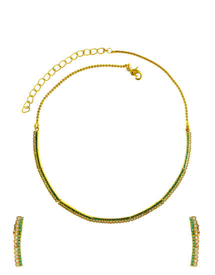 Green Colour Gold Finish Simple American Diamond Necklace Fancy