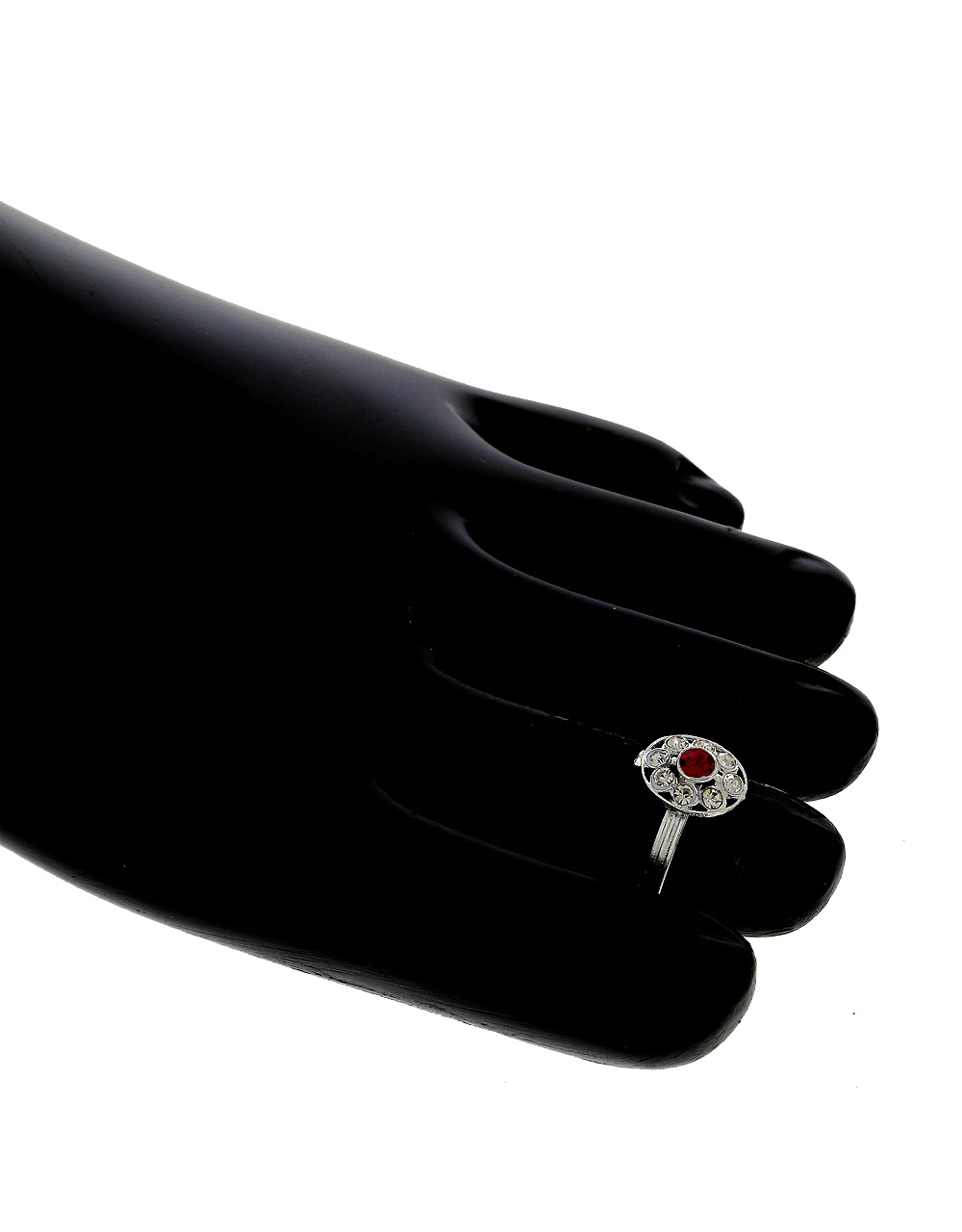 Red Colour Silver Finish Stunning Toe Rings