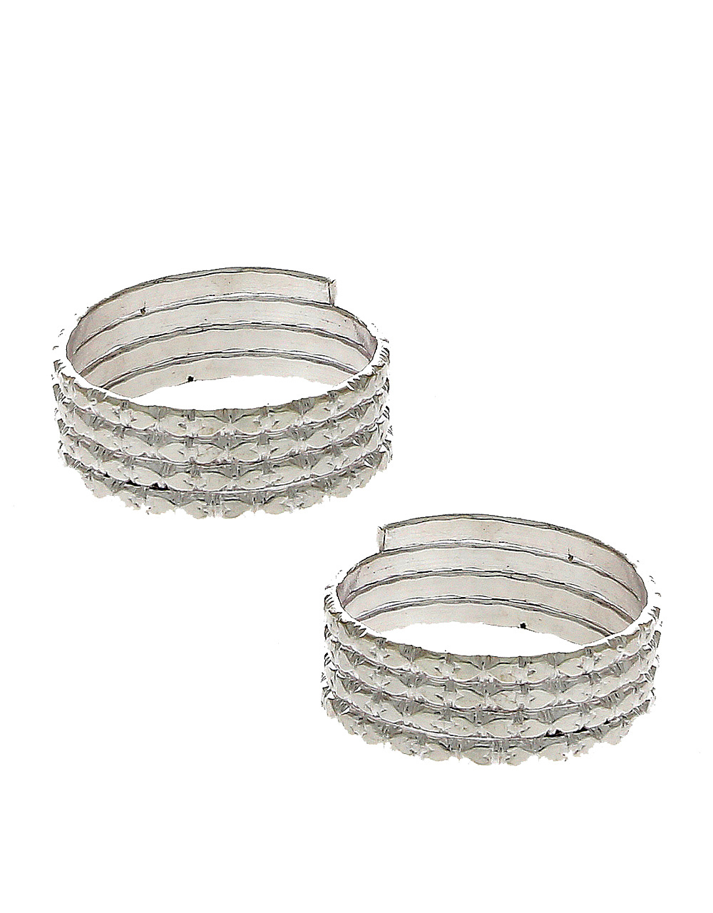 Simple Silver Finish Adjustable Toe Ring For Women