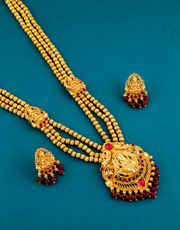 Pink Colour Fancy Gold Finish South Indian Long Necklace For Women