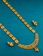 Fancy Simple Gold Finish American Diamond Long Necklace Fancy