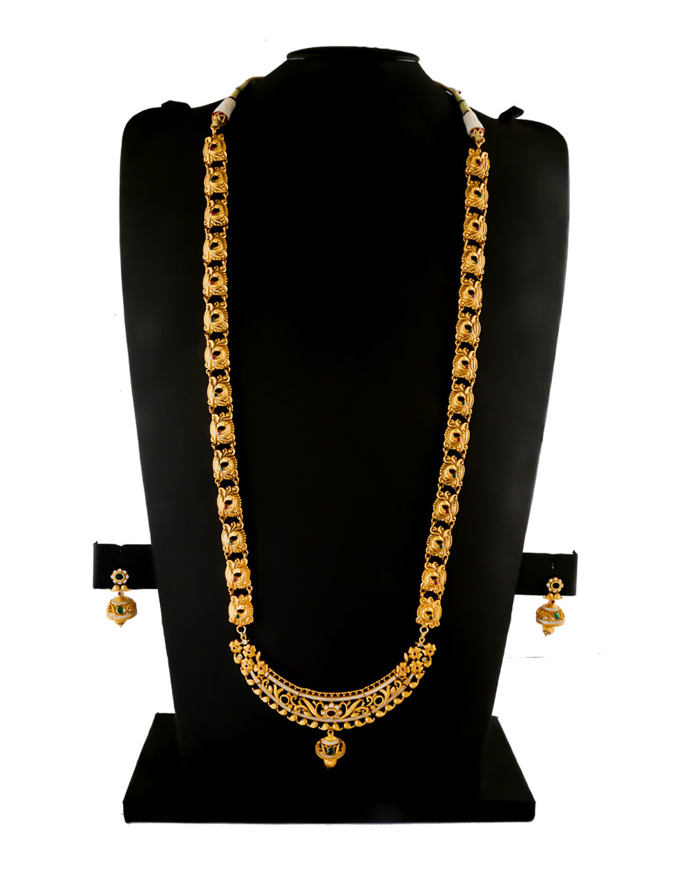 Fancy Simple Gold Finish American Diamond Long Necklace Fancy