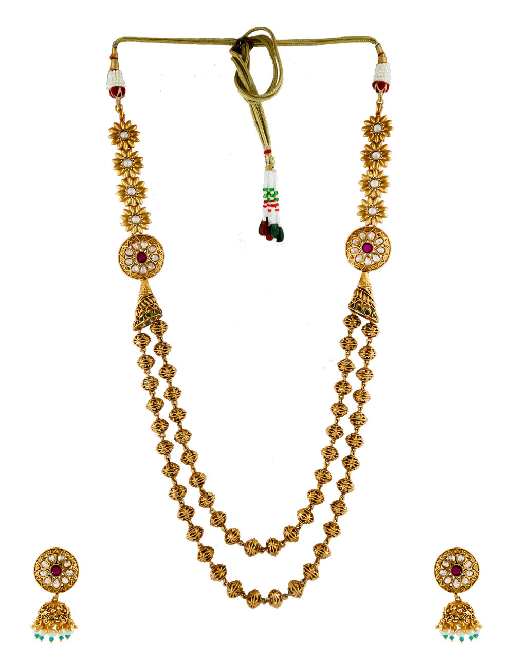 Antique Gold Finish Stunning Floral Design Long Necklace Mala