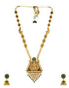 Green Colour Temple Design Fancy Designer Traditional Long Necklace