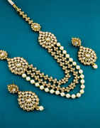 Antique Gold Finish Necklace Studded With Stones Fancy Party Wear Necklace
