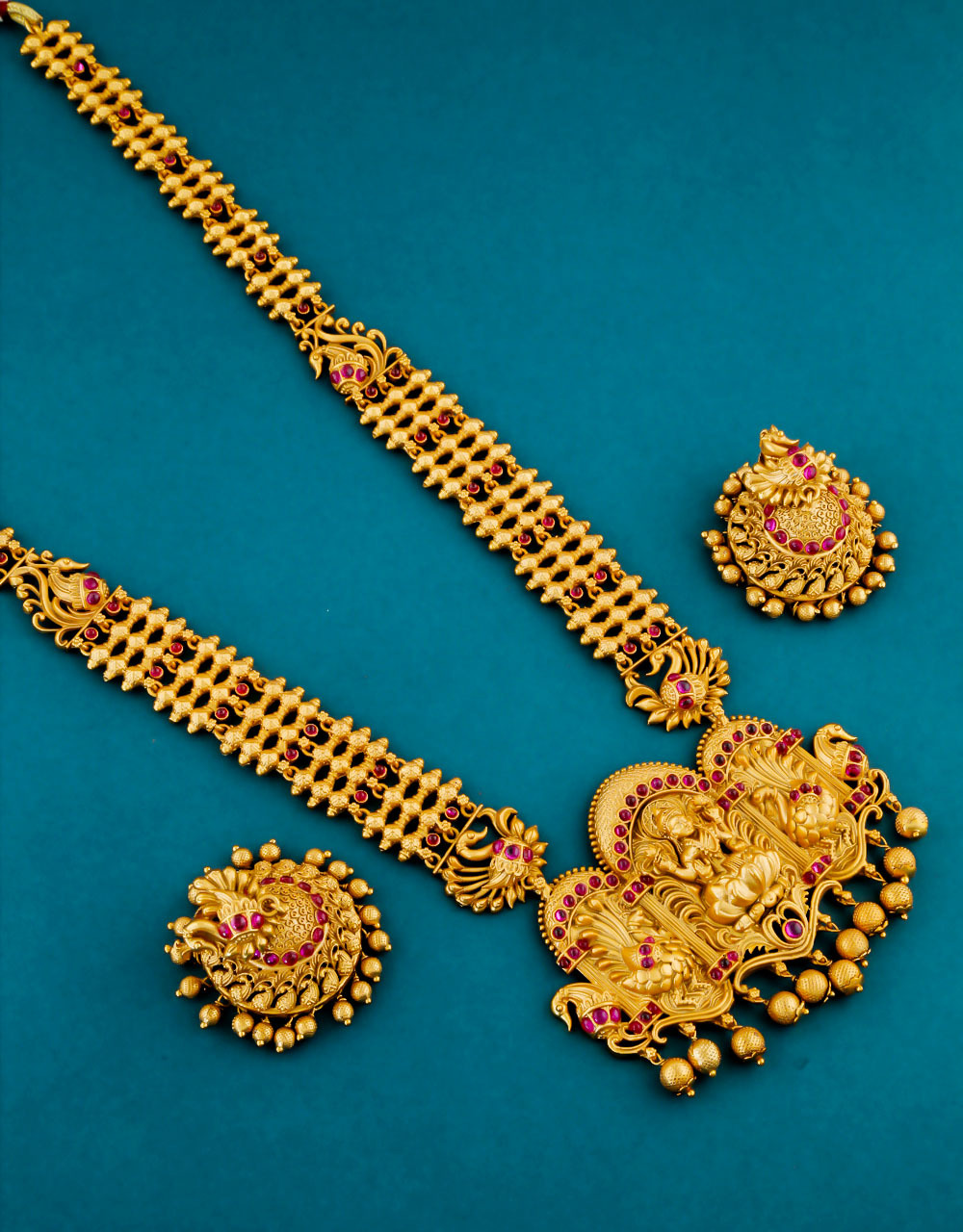 Pink Colour Gold Finish Peacock Design Fancy South Indian Jewellery