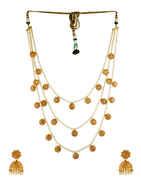 Gold Finish Studded With Stones Moti Mala Jewellery