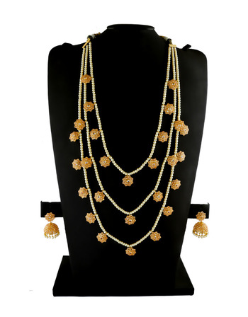 Gold Finish Studded With Stones Moti Mala Jewellery