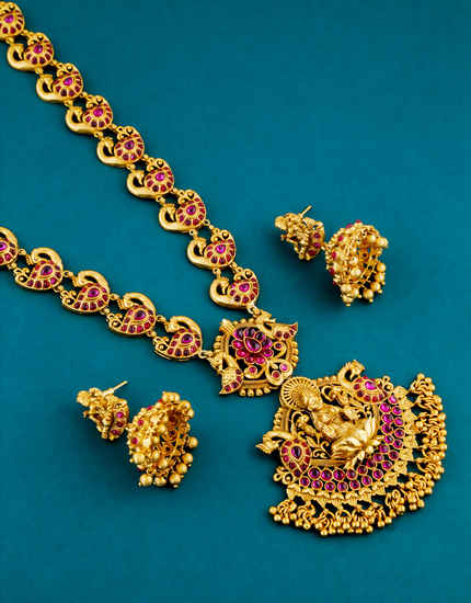 Pink Colour Gold Finish Fancy Peacock Design Long Necklace Jewellery