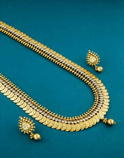 Gold Finish Coin Long Necklace Jewellery For Women Fancy