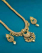 Traditional Gold Finish Styled With Pearls Beads Long Necklace