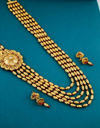 Designer Gold Finish Long Necklace Styled With Gold Beads Long Necklace