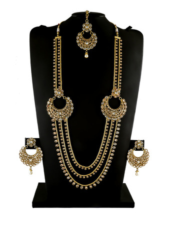 Antique Gold Finish Fashionable Stunning Long Necklace For Women