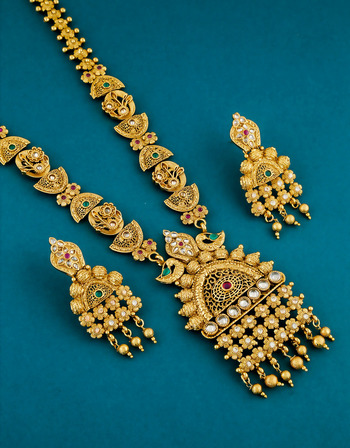 Fancy Gold Finish Traditional Long Necklace For Women Fancy