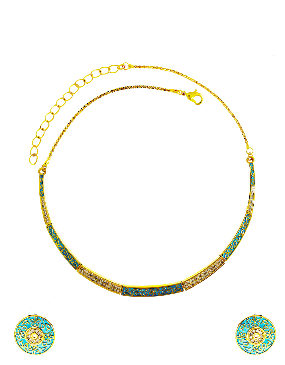 Green Colour Fashionable Gold Finish Fancy Necklace For Women