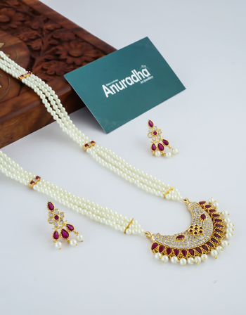 Very Classy Gold Finish Marathi Wedding Necklace Moti Haar