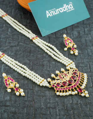 Designer Gold Finish Pink Colour Moti Necklace For Wedding Fancy
