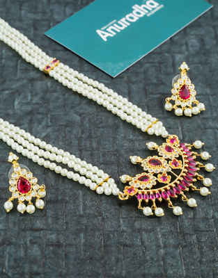 Gold Finish Pink Colour Maharashtrian Moti Haar Necklace